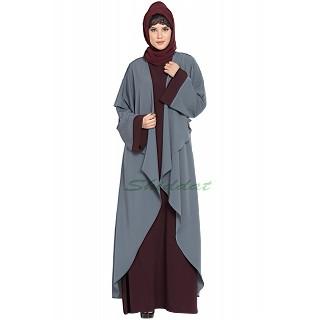 Designer Shrug abaya combo- Wine-Grey