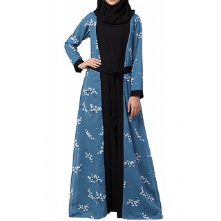 Designer abaya with printed Shrug attached