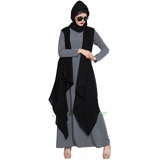 Shrug abaya- Grey-Black