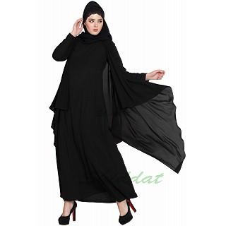 Shrug abaya- Black-Black