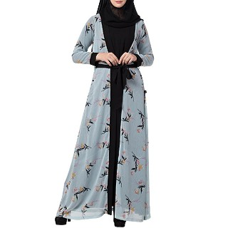 Printed Shrug Abaya- Sky Blue-Black color