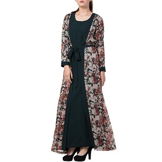 Printed Shrug Abaya- Green-Multi color
