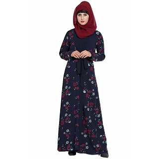 Floral printed Shrug abaya- Navy Blue