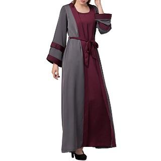 Designer Shrug Abaya- Grey-Burgundy color