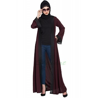 Elegant Shrug with lacework- Wine color