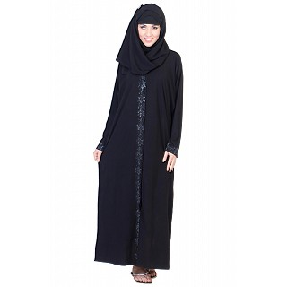 Front Open Black Abaya with silver stone