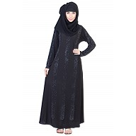 Umbrella Style Black Abaya with Silver Stone