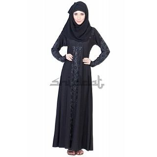 A-line Style Black Abaya with silver stone work
