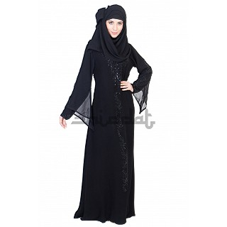 A-line Style and Umbrella sleeves Design Black Abaya with silver stone work