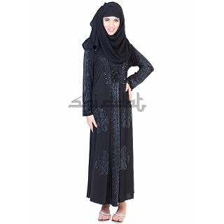 Single Arca with 5 boota Design Black Abaya