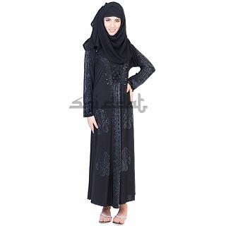 Single Arca with 5 boota Design Black Abaya