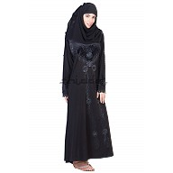 Three piece Burqa with Velvet Patch