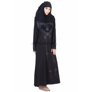 Three piece Burqa with Velvet Patch
