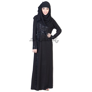 A-Line Scale style with one-sided Vertical line design Black abaya
