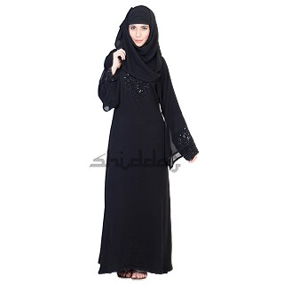A-Line with Umbrella sleeves designer black Abaya