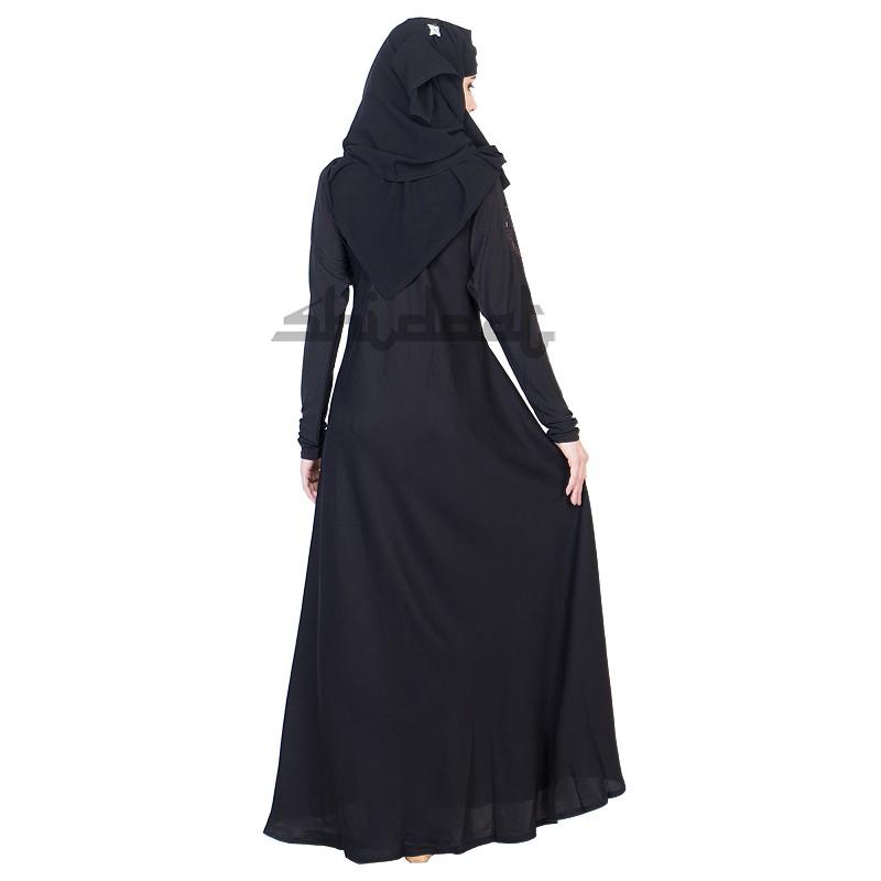 Burqa Dubai Style Umbrella Design Black Burqa Maroon Stone Work