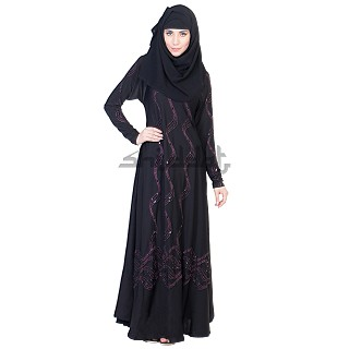 Dubai Style Umbrella design black Abaya with Maroon stone work