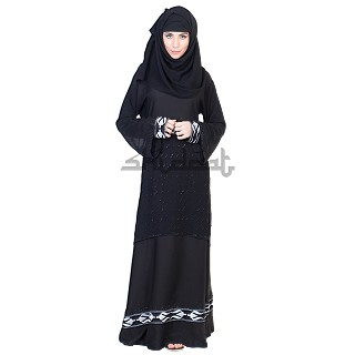 Dubai Style Umbrella design black Abaya with Double layer work