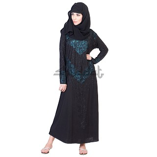 A-Line with V design Black Abaya