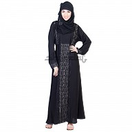 Abaya- Dubai Style Umbrella Design silver stone work on Vertical line