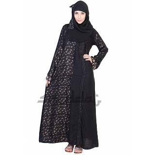 A-Line Style Dubai Abaya with dual design cloth work
