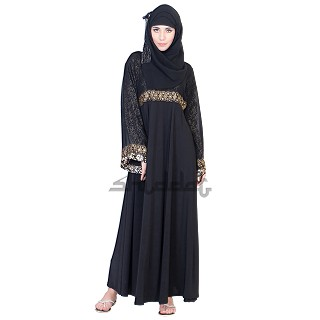 Frock Style Umbrella Design Niqab with Golden Print on Top.