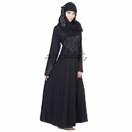 A-Line Black Abaya with silver stone work on Chest