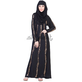 A-Line Style Dubai Burqa with Golden Stone wotk on Vertical Lines
