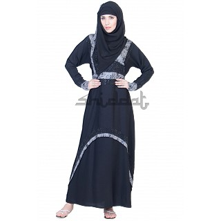 A-Line Double Layer Dubai Burqa with Belt