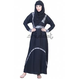 A-Line Double Layer Dubai Burqa with Belt