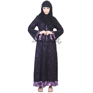 A-Line Double Layer Dual Cloth Black Burqa