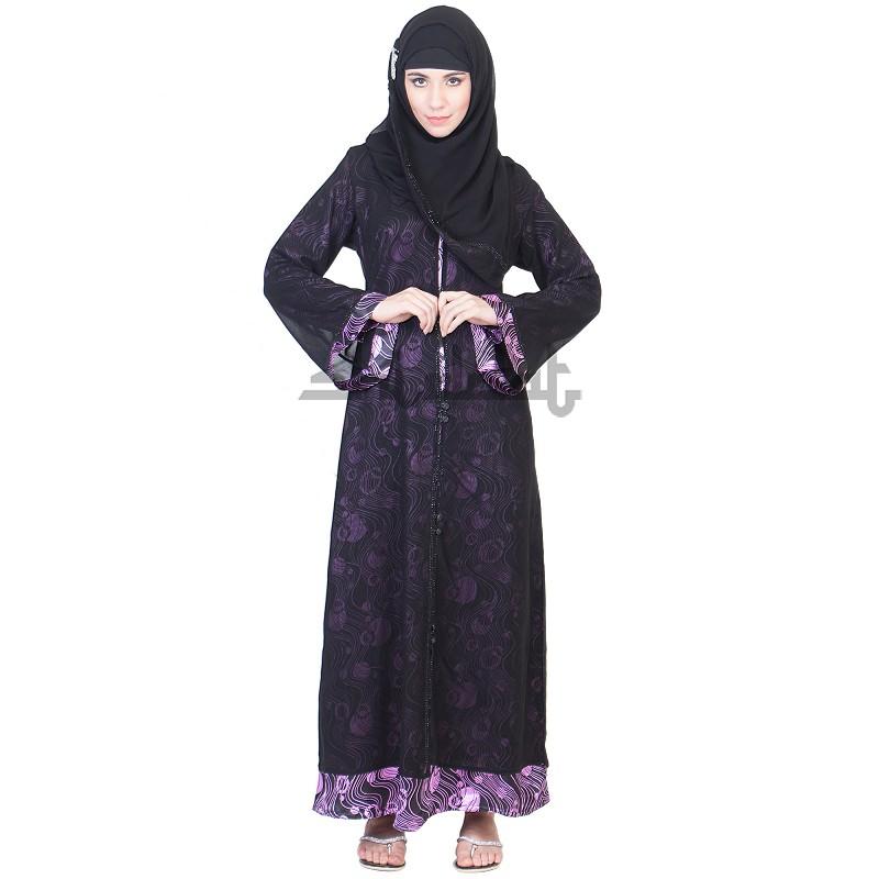 Niqab A Line Double Layer Dual Cloth Black Burqa