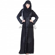 A-Line with Single Arca Design Black Burqa