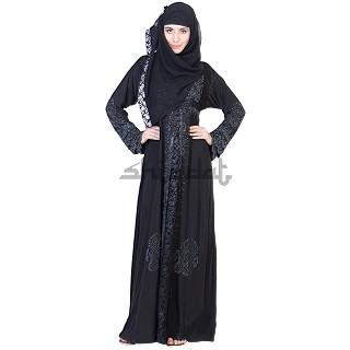 A-Line with Single Arca Design Black Burqa