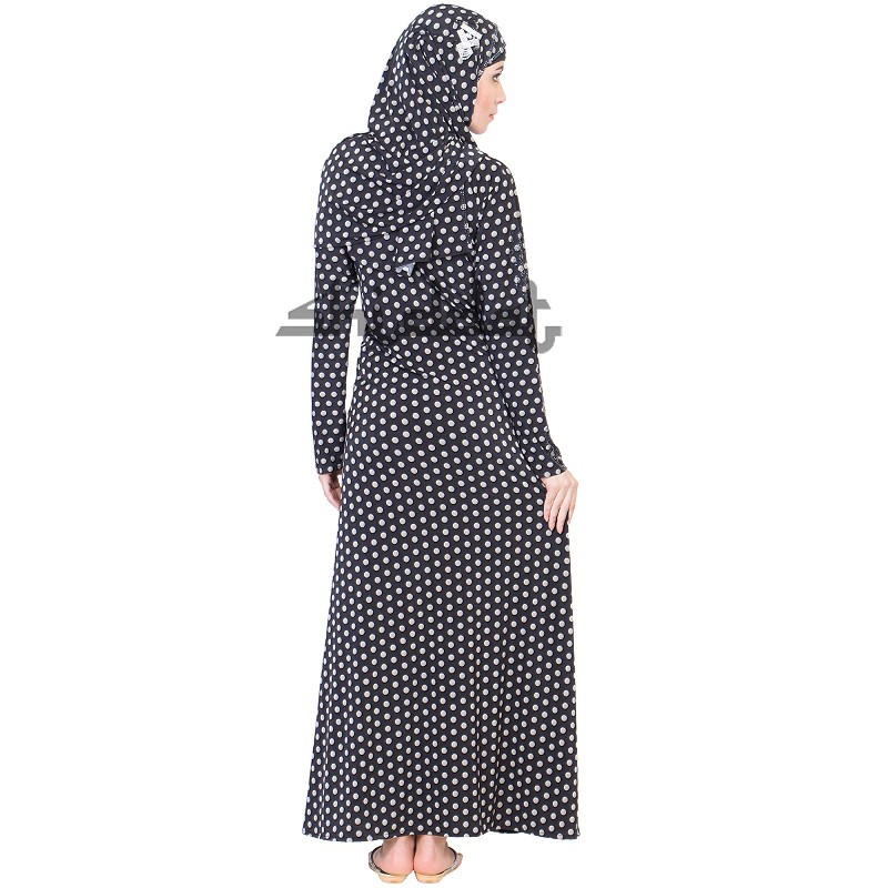 113dd92ac0 ... A-Line Frock style Black and White print Burqa ...