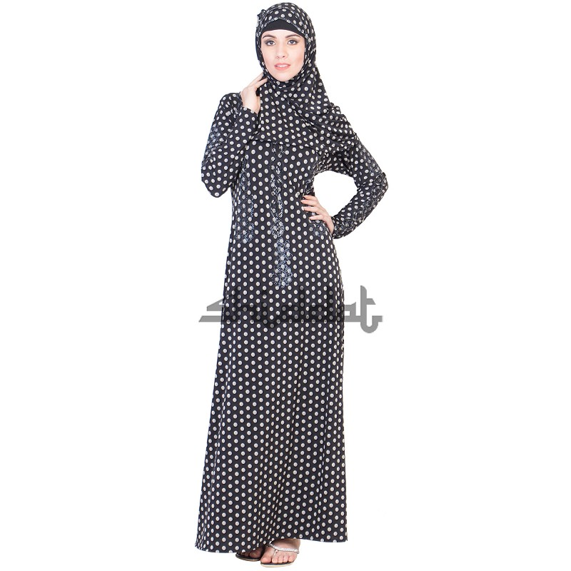 0884945009 A-Line Frock style Black and White print Burqa