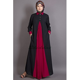 New Arrivals Casual Abaya - Contrast Yoke Black-Maroon