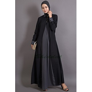 Casual Abaya - Contrast Yoke Black-Grey