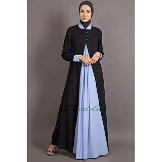 New Arrivals Casual Abaya - Contrast Yoke Black/Sky-blue