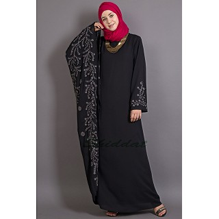 Party wear Black Abaya - Embroidered Butterfly Sleeve