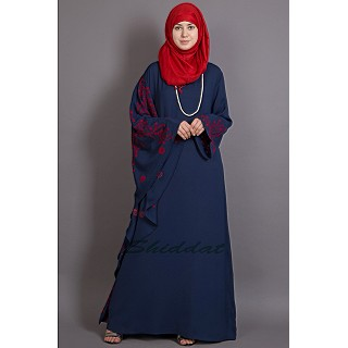Embroidered abaya with Butterfly sleeves- Blue