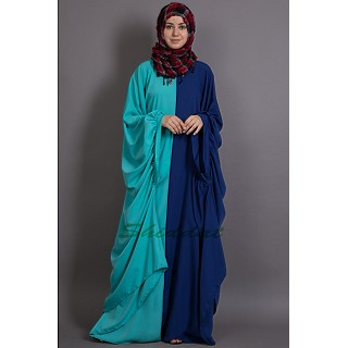Dual Color abaya in Poly Crape