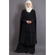 Double Layered Abaya with embroidered neck band - Black