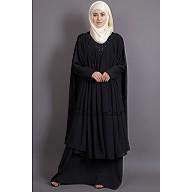 Double Layered Abaya with neck band - Black