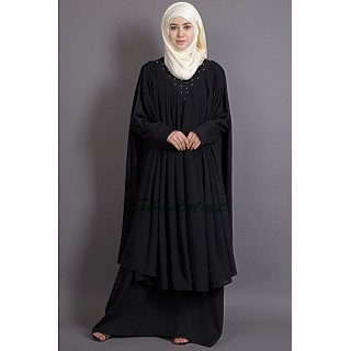 Double Layered Abaya with neck band - Black