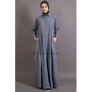 Executive Abaya  with shirt collar