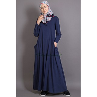 Travel Abaya in Jersey  - Navy Blue