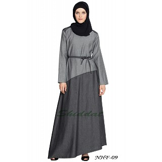 Casual Denim abaya- Grey-Black