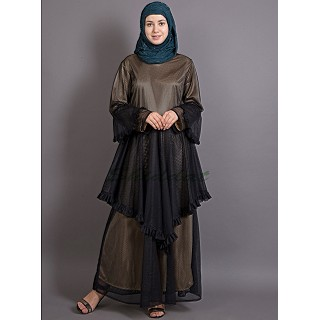 Double layered abaya with frills