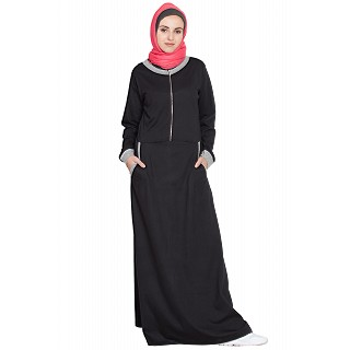 Travel abaya for winter- Black-Grey